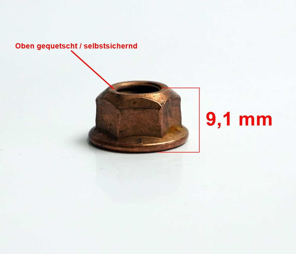 5x Sechskantmutter Sicherungsmutter Thermagmutter Kupfermutter M10 x 1,5 SW14